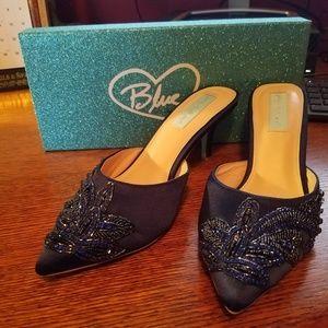 Betsey Johnson SB COSET NAVY SATIN DRESS MULES